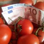 Unternehmen mit Tomaten auf den Augen