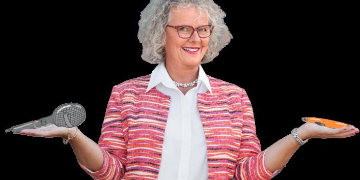 Frau Schöbitz mit Mikro + Marker