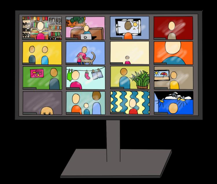 Online-Meeting mit vielen Videos